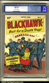 Blackhawk #9 Mile High pedigree (Quality, 1944) CGC NM- 9.2 Off-white to white pages. One of the great comics published...