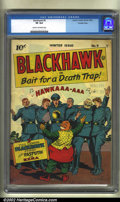 Golden Age (1938-1955):War, Blackhawk #9 Crowley pedigree (Quality, 1944) CGC VF 8.0 Cream tooff-white pages. Here, in nice shape, is the very first is...