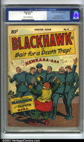 Golden Age (1938-1955):War, Blackhawk #9 (Quality, 1944) CGC VF 8.0 Cream to off-white pages.After a three-year run in first Military Comics, then ...