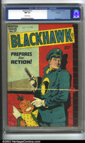 Golden Age (1938-1955):War, Blackhawk #17 Rockford pedigree (Quality, 1947) CGC NM 9.4Off-white pages. This incredible book is from the famed Rockford...