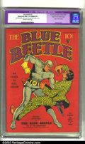 Golden Age (1938-1955):Superhero, Blue Beetle #1 Mile High pedigree (Feature, 1939) CGC Apparent NM- 9.2 Slight (P) Off-white to white pages. Featuring the or...