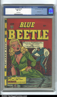 Blue Beetle #52 (Fox Feature, 1948) CGC NM- 9.2 Off-white pages. This must be one of the best bondage/headlights covers...