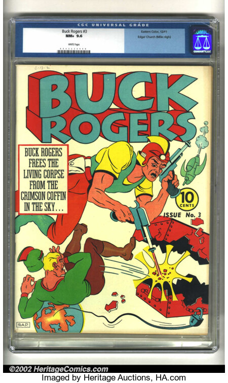 Buck Rogers #3 Mile High pedigree (Eastern Color, 1941) CGC NM+ 9.6 White pages. Offered here is an incredibly bizarre Buck ...