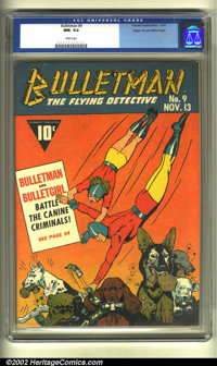 Bulletman #9 Mile High pedigree (Fawcett, 1942) CGC NM-9.2 White pages. This is best copy that CGC has ever seen, and pr...