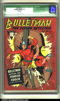 Bulletman #11 Mile High pedigree (Fawcett, 1943) CGC Qualified NM/MT 9.8 White pages. Bulletman and Bulletgirl smash out...
