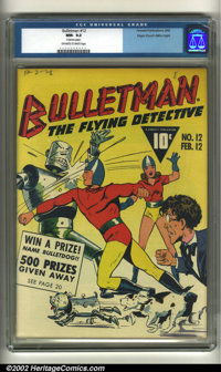 Bulletman #12 Mile High pedigree (Fawcett, 1943) CGC NM- 9.2 Off-white to white pages. A small nick on the spine keeps t...