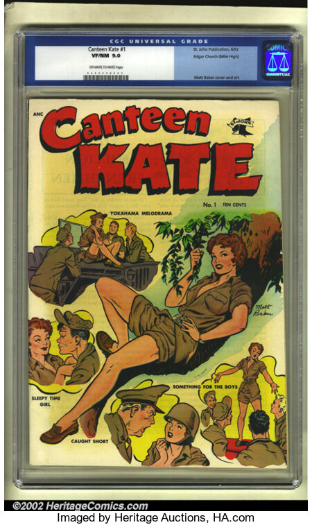 Canteen Kate #1 Mile High pedigree (St. John, 1952) CGC VF/NM 9.0 Off-white to white pages. Matt Baker's art makes this cove...