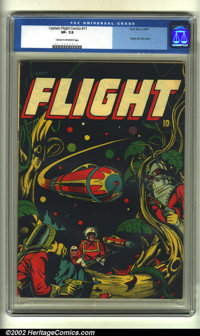 Captain Flight #11 (Four Star, 1947) CGC VF- 7.5 Cream to off-white pages. This classic L. B. Cole science-fiction cover...