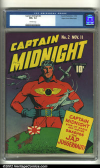 Captain Midnight #2 Mile High pedigree (Fawcett, 1942) CGC NM+ 9.6 Off-white pages. The gritty determination of Captain...