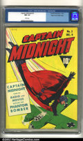 Golden Age (1938-1955):Superhero, Captain Midnight #3 Mile High pedigree (Fawcett, 1942) CGC NM 9.4 White pages. A simple, dynamic cover depicts the media sta...