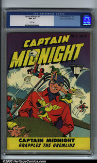 Captain Midnight #4 Mile High pedigree (Fawcett, 1943) CGC NM- 9.2 White pages. Perhaps the most whimsical and comical i...