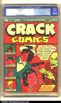 Golden Age (1938-1955):Crime, Crack Comics #1 (Quality, 1941) CGC VF- 7.5 Off-white pages. The Clock protects Jane Arden from a menacing Chinaman on this ...