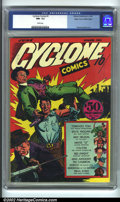 Golden Age (1938-1955):Superhero, Cyclone Comics #1 Mile High pedigree (Bilbara, 1940) CGC NM- 9.2 White pages. This rare book is from a third-tier publisher ...
