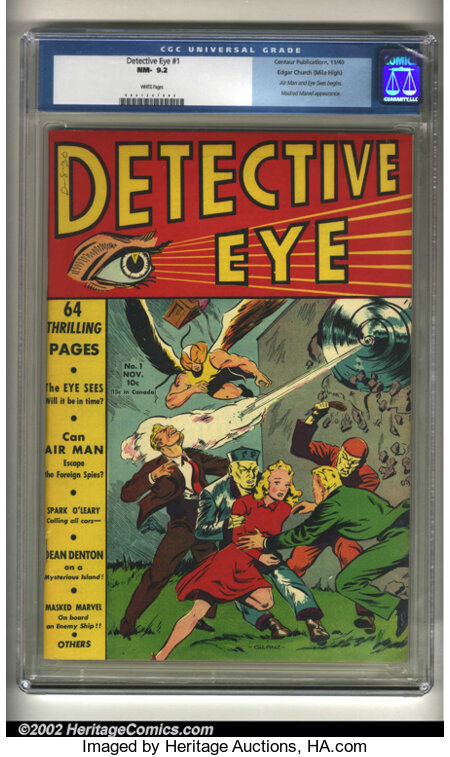 Detective Eye #1 Mile High pedigree (Centaur, 1940) CGC NM- 9.2 White pages. Centaur's unique brand of comic books graced th...