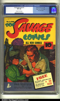 Doc Savage Comics #1 Mile High pedigree (Street and Smith, 1940) CGC VF+ 8.5 Off-white to white pages. From the early da...