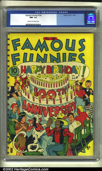 Famous Funnies #100 (Eastern Color, 1942) CGC NM- 9.2 Cream to off-white pages. Here is the very first comic book title...
