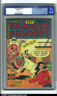 Famous Funnies #157 File Copy (Eastern Color, 1947) CGC NM- 9.2 Cream to off-white pages. This book is just about as clo...