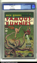 Golden Age (1938-1955):Science Fiction, Famous Funnies #215 (Eastern Color, 1955) CGC VF 8.0 Cream tooff-white pages. The striking cover by Frank Frazetta is highl...