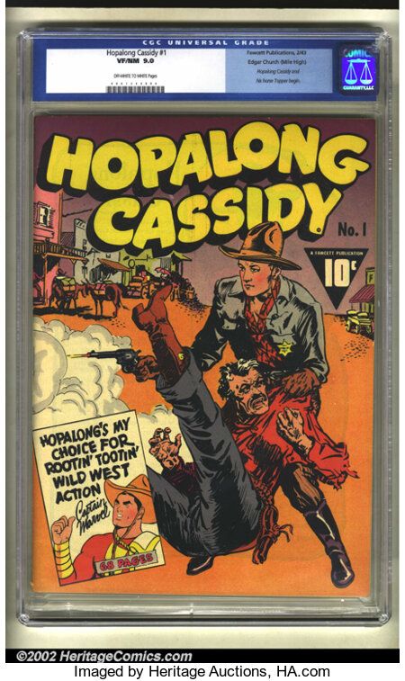 Hopalong Cassidy #1 Mile High pedigree (Fawcett, 1943) CGC VF/NM 9.0 Off-white to white pages. One of the most successful we...