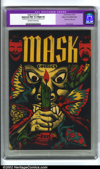 Mask Comics #1 Mile High pedigree (Rural Home, 1945) CGC Apparent NM 9.4 Slight (A) Off-white to white pages. CGC notes...