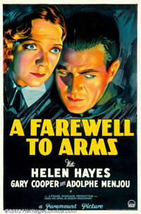 "A Farewell To Arms (Paramount, 1932). One Sheet (27"" X 41"") Style A. Gary Cooper and Helen Hayes in the first..."