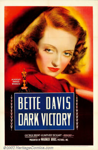 "Dark Victory (Warner Brothers, 1939). One Sheet (27"" X 41""). This soaper has long been held as a favorite amon..."