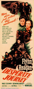 """Movie Posters:War, Desperate Journey (Warner Brothers, 1942). Insert (14"""" X 36""""). WW11Raoul Walsh action adventure starring Errol Flynn and R..."""