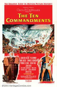 """Ten Commandments, The (Paramount, 1956). One Sheet (27"""" X 41"""") Style A. Cecil B. DeMille's biblical epic conce..."""