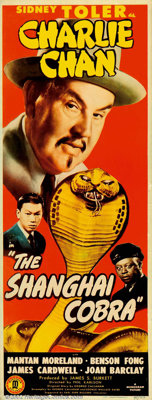 """Shanghai Cobra (Monogram, 1945). Insert (14"""" X 36""""). This beautiful insert is from one of the Sidney Toler-Mon..."""