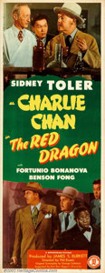 """Movie Posters:Mystery, Red Dragon (Monogram, 1945). Insert (14"""" X 36""""). Sidney Toler made twelve Charlie Chan movies for Monogram Pictures. This in..."""