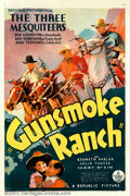 "Movie Posters:Western, Gunsmoke Ranch (Republic, 1937). One Sheet (27"" X 41""). The ThreeMesquiteers try to thwart a land crook in this classic B-W..."
