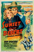 "Movie Posters:Western, Sunset on the Desert (Republic, 1942). One Sheet (27"" X 41""). RoyRogers is back in action in this one as he goes undercover..."