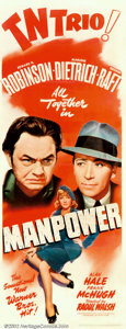 "Movie Posters:Drama, Manpower (Warner Brothers, 1941). Insert (14"" X 36""). Drama about the stylish mishaps of the romantic triangle in which Edwa..."