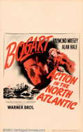 "Movie Posters:War, Action in the North Atlantic (Warner Brothers, 1943). Window Card(14"" X 22"") Humphrey Bogart stars as a lieutenant on a shi..."