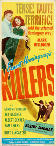 "Movie Posters:Film Noir, Killers, The (Universal, 1946). Insert (14"" X 36""). This compellingcrime drama based on a story by Hemingway, provided fire..."