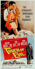 "Movie Posters:Film Noir, Touch Of Evil (Universal, 1958). Three Sheet (41"" X 81""). Offeredhere is a rare, very fine grade poster to Orson Welles' fi..."