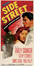 """Movie Posters:Film Noir, Side Street (MGM, 1950). Three Sheet (41"""" X 81""""). A man who is downon his luck, played by Farley Granger, with a wife expec..."""