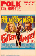 "Movie Posters:Film Noir, Fallen Angel (Twentieth Century Fox, 1945). Window Card (14"" X 22"")Dana Andrews plays a man who falls into a state of unreq..."
