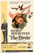 "Movie Posters:Horror, Birds, The (Universal, 1963). One Sheet (27"" X 41""). Arguably one of Alfred Hitchcock's most widely discussed films, about a..."
