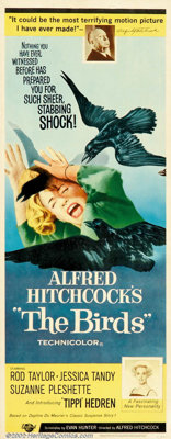 """Birds, The (Universal, 1963). Insert (14"""" X 36""""). Hitchcock's classic horror of an isolated community attacked..."""