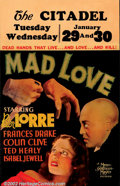 """Movie Posters:Horror, Mad Love (MGM, 1935) Window Card (14"""" X 22""""). This strange MGM horror film is the story of a doctor's infatuation with woman..."""
