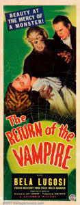 """Movie Posters:Horror, Return of the Vampire (Columbia, 1943). Insert (14"""" X 36""""). This was perhaps Bela Lugosi's last role in a serious vampire th..."""
