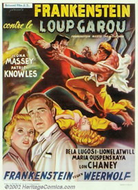 """Frankenstein Meets the Wolfman (Universal, 1943). Belgium. This was Universal's follow up to """"The Ghost of Frankens..."""