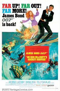 """On Her Majesty's Secret Service (United Artists, 1969). One Sheet (27"""" X 41"""") Style B. In this, the first and..."""
