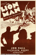 "Movie Posters:Adventure, Lion Man (Normandy, 1936). One Sheet (27"" X 41'). This film was based on Edgar Rice Burroughs' story ""The Lad and the Lion""...."