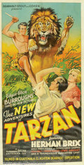 "Movie Posters:Serial, New Adventures of Tarzan, The (Burroughs-Tarzan-Enterprise, 1935). Three Sheet (41"" X 81""). This feature film version adapte..."