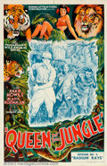 "Movie Posters:Serial, Queen Of The Jungle (Screen Attractions Corp., 1935). One Sheet (27"" X 41""). This pretty stone litho poster is from an early..."