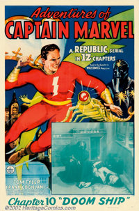 "Adventures of Captain Marvel (Republic, 1941). One Sheet (27"" X 41""). Taken from the popular Fawcett comic boo..."