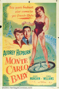 "Movie Posters:Comedy, Monte Carlo Baby (Filmakers Releasing Organization, R1953). OneSheet (27"" X 41""). While on the French Riviera filming a sma..."
