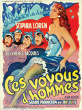 "Movie Posters:Comedy, Ces Voyous d'hommes (Le Union de Producteurs, 1953). French (47"" X63""). Beautiful stone litho poster from an early Sophia L..."